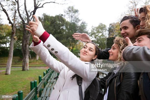 Turkish Student Taking Selfie with Smart Phone, Break, Istanbul