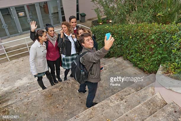 Turkish Student, Teacher, Taking Selfie with Smart Phone, Break, Istanbul