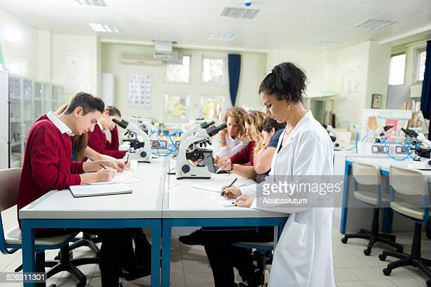 Turkish Students and Teacher in Biology Lab Researching, Istanbul