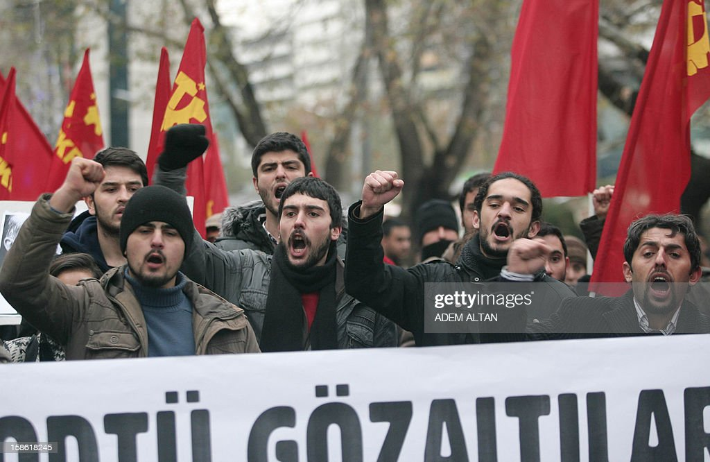 Turkish students protest against the Turkish government and NATO's deployment of patriot missiles near the Turkey-Syria border on December 21, 2012 in Ankara.