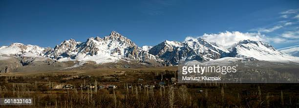 Turkish Taurus mountains snowy peaks and villages
