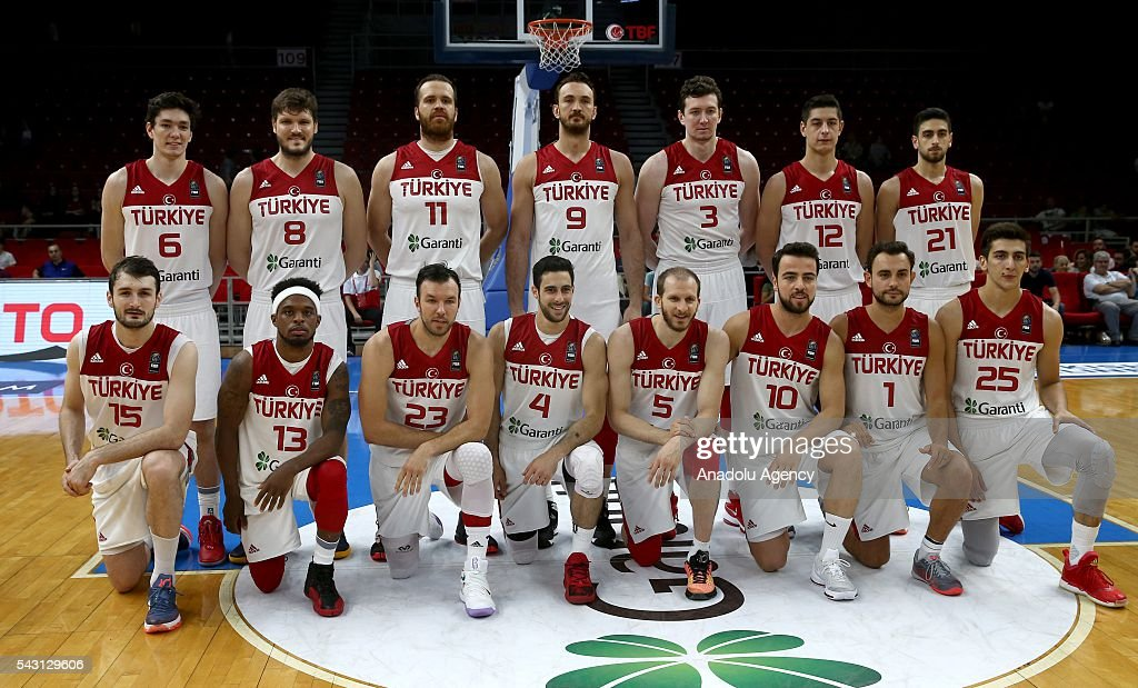Turkish team players pose for a group photo before the friendly match at Abdi Ipekci Sports Hall in Istanbul, Turkey on June 26, 2016.