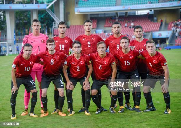 Turkish U17 team's footballers pose for a photo before the 2017 FIFA U17 World Cup football match between Turkey U17 and Paraguay U17 in Mumbai India...