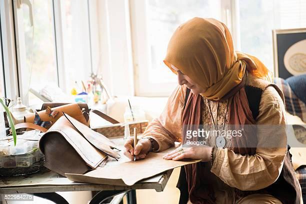 Turkish Woman Artist Creating in Istanbul Studio