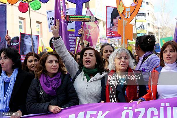 Turkish women shout slogans during a demonstration marking International Women's Day in Ankara on March 6 2016 / AFP / ADEM ALTAN