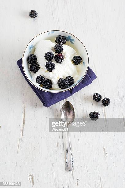 Turkish yogurt with blackberries in bowl