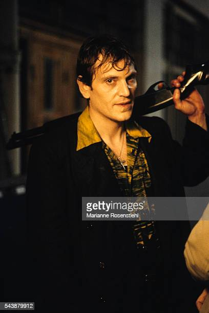 Turkishborn French actor Tcheky Karyo on the set of L'Amour Braque by Polish director screenwriter and writer Andrzej Zulawski