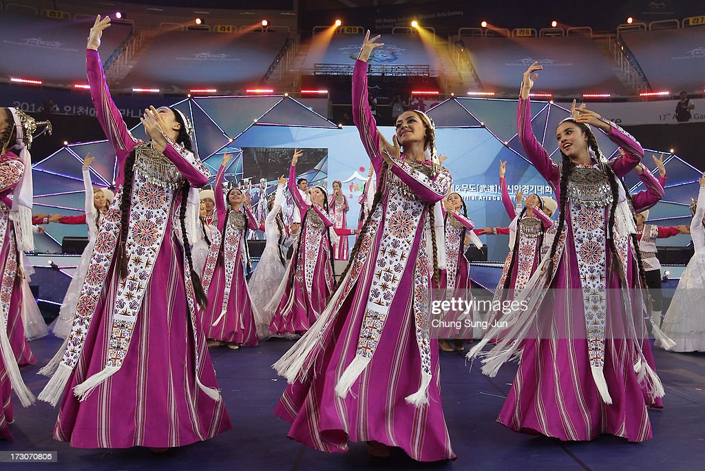 Turkmenistan performers dance and celebrate during the closing ceremony of the 4th Asian Indoor & Martial Arts Games at Incheon Samsan World Gymansium on July 6, 2013 in Incheon, South Korea.