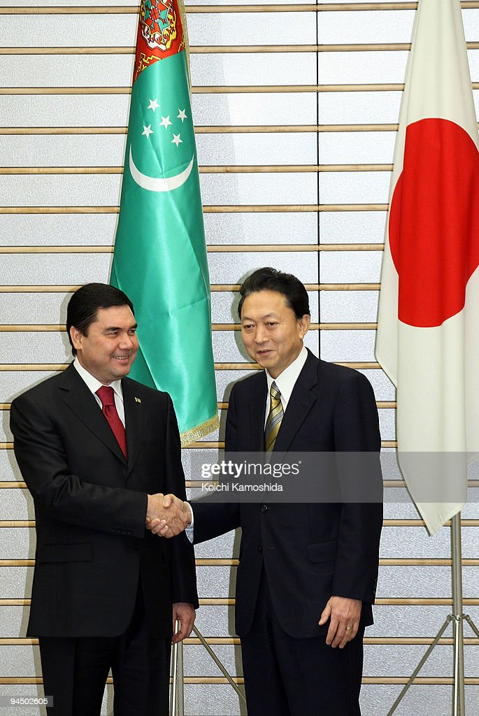 Turkmenistan President Gurbanguly Berdimuhamedov (L)shakes hand with Japanese Prime Minister <a gi-track='captionPersonalityLinkClicked' href=/galleries/search?phrase=Yukio+Hatoyama&family=editorial&specificpeople=705513 ng-click='$event.stopPropagation()'>Yukio Hatoyama</a> (R) prior to their meeting at Hatoyama's official residence on December 16, 2009 in Tokyo, Japan. Berdimuhamedov is in Japan for three days to strengthen the bilateral relationship.