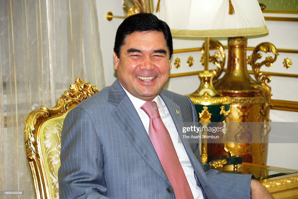 Turkmenistan President Gurbanguly Berdimuhamedow speaks during the Asahi Shimbun interview on August 6, 2009 in Ashgabat, Turkmenistan.