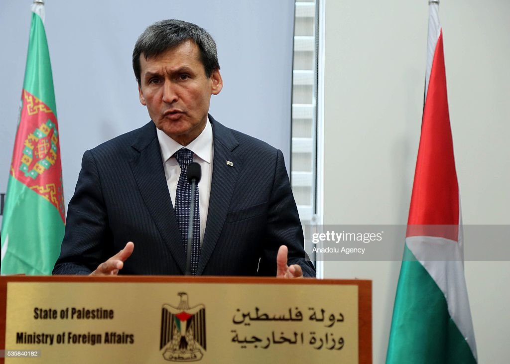 Turkmenistan's Foreign Minister Rasit Meredow delivers a speech during a joint press conference with Palestinian Foreign Minister Riyad al-Maliki (not seen) at the Foreign Ministry in Ramallah, West Bank on May 30, 2016.