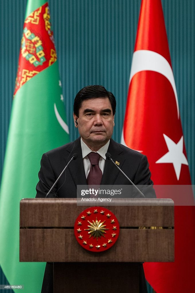 Turkmenistan's President Gurbanguly Berdimuhamedow and Turkish President Recep Tayyip Erdogan (not seen) hold a joint press conference after their meeting at the Presidential Palace in Ankara, Turkey on March 03, 2015.