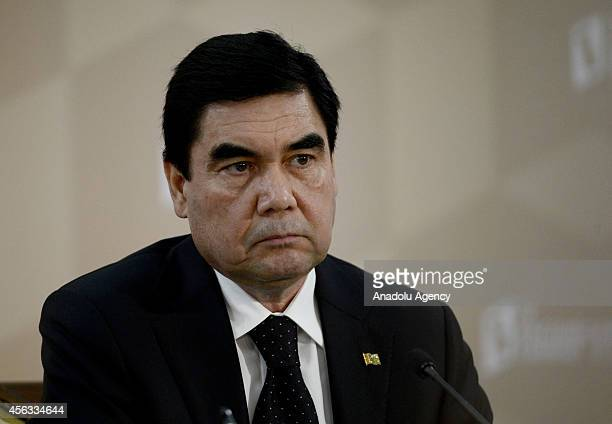 Turkmenistan's President Gurbanguly Berdimuhamedow attends the 4th Caspian Summit on September 29 2014 in Astrakhan Russia Leaders of Russia Iran...