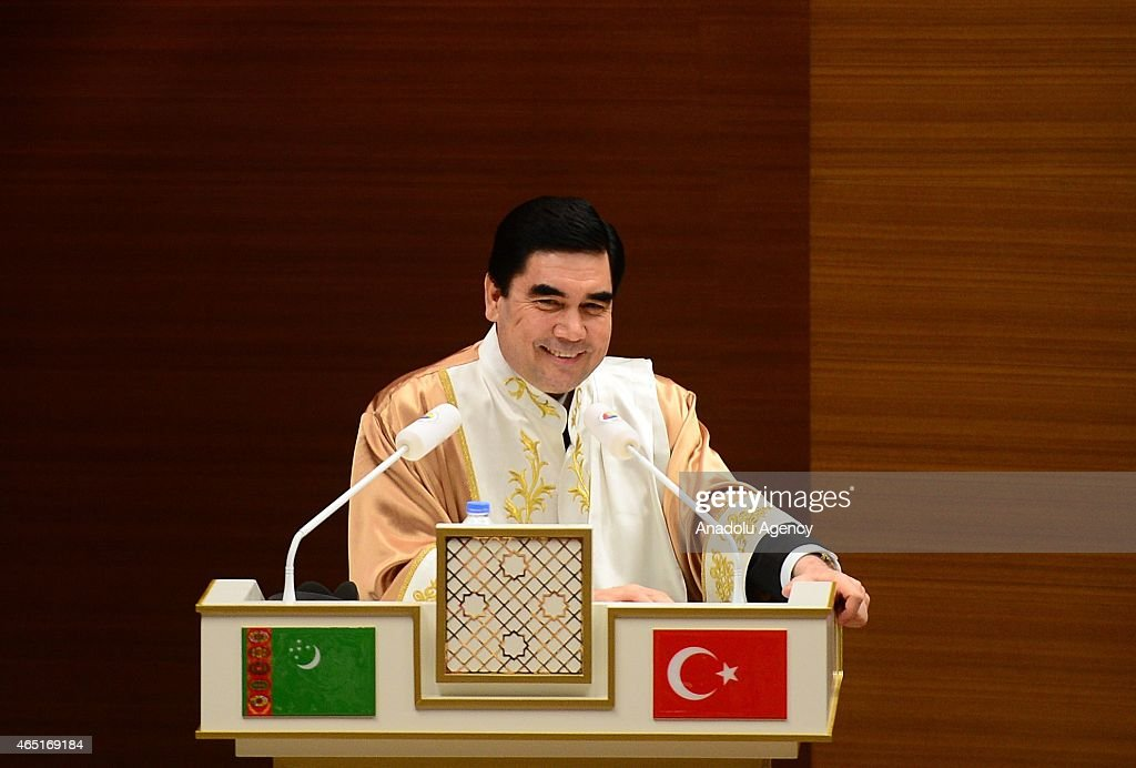 Turkmenistan's President Gurbanguly Berdimuhamedow speaks during the title of honorary PhD given by TOBB University of Economics and Technology in Ankara, Turkey on March 03, 2015.