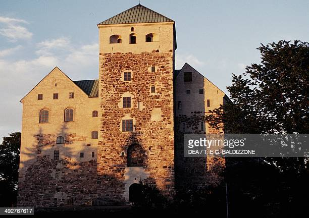 Turku castle founded in 13th century seen from the Port of Turku Finland