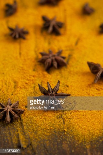 Turmeric and star anise : Stock Photo