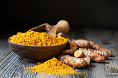 Scoop in bowl of turmeric powder with turmeric roots and copy space.