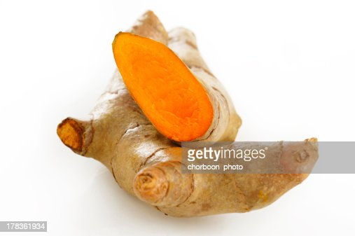 Turmeric root on white background : Stock Photo