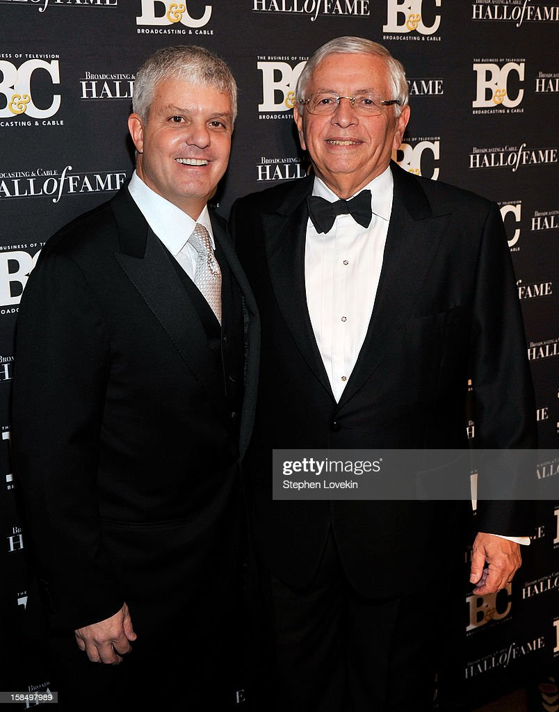 Turner Broadcasting System President of Sales, Distribution and Sports David Levy and NBA Commissioner <a gi-track='captionPersonalityLinkClicked' href=/galleries/search?phrase=David+Stern&family=editorial&specificpeople=206848 ng-click='$event.stopPropagation()'>David Stern</a> attend The 2012 Broadcasting & Cable Hall Of Fame Awards at The Waldorf=Astoria on December 17, 2012 in New York City.