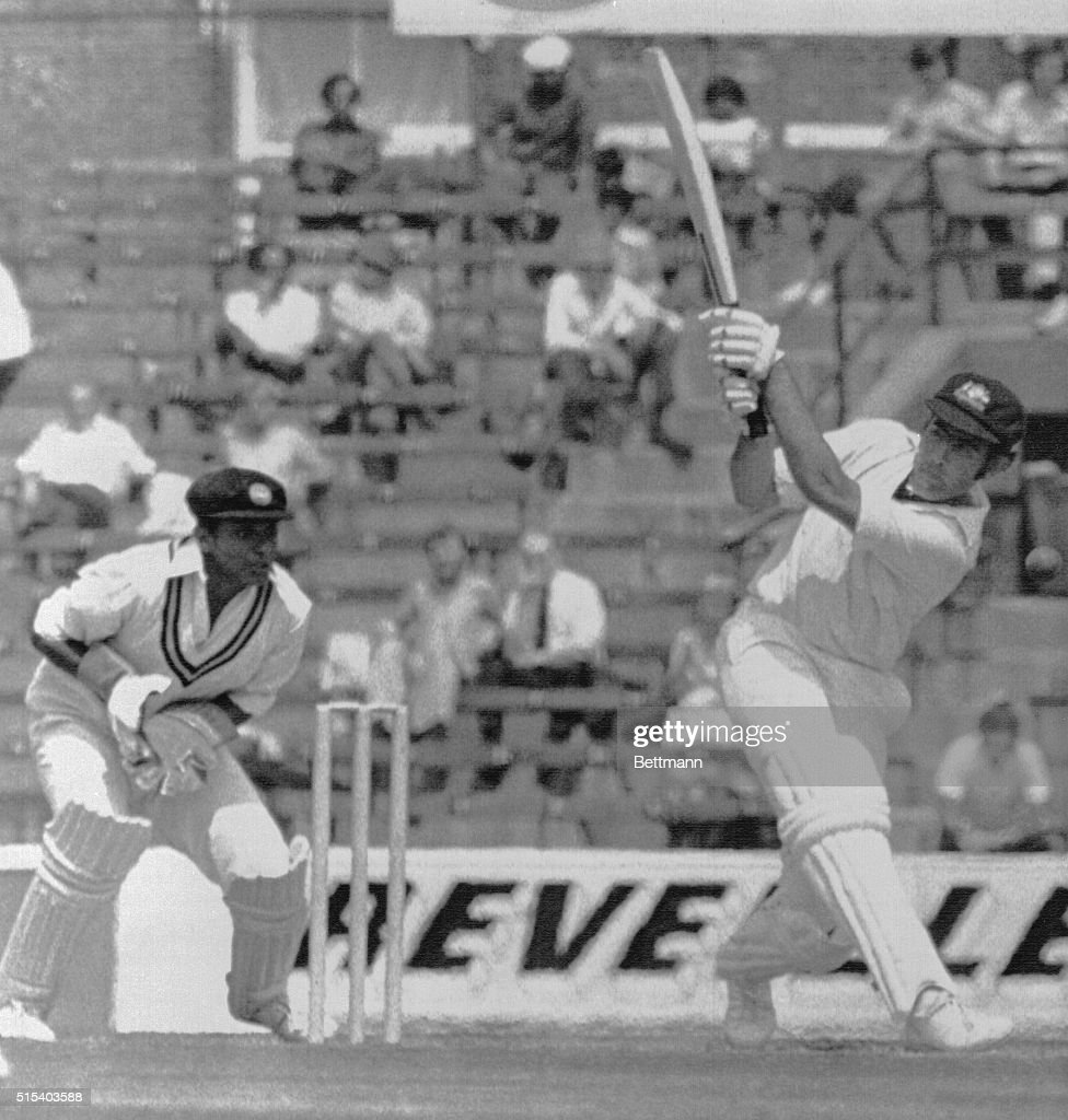 A Turner of Australia drives Kalaperuma to the boundary here during Australia's Sri Lanka World Cup cricket game at the Oval London The wicket keeper...
