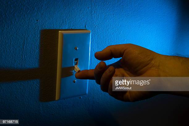 Turning on the light switch