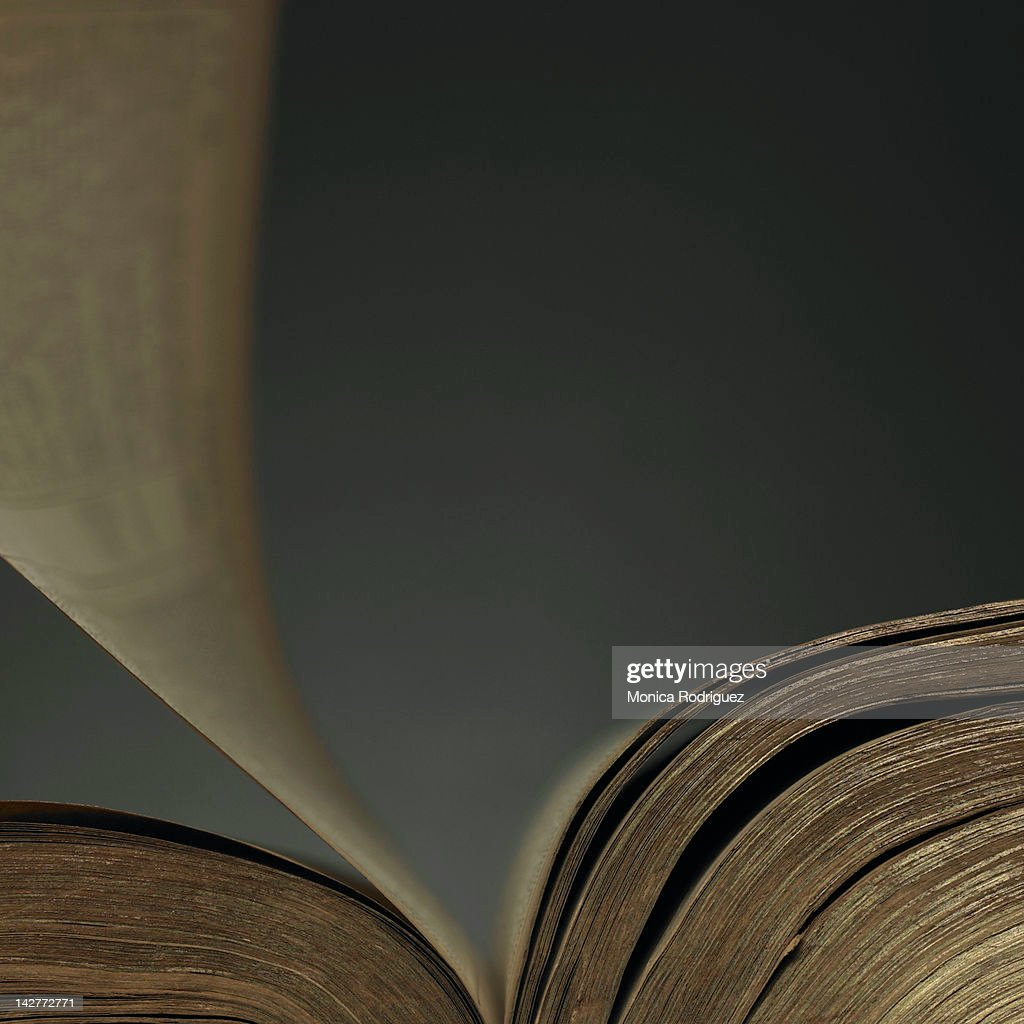 Turning page of book