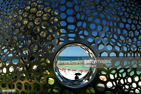 'Turning Stones' by artist Virginia King is seen at Sculpture By The Sea at Cottesloe Beach on March 6 2015 in Perth Australia