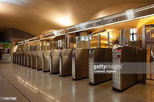 Turnstiles at subway station