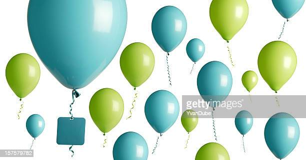 turquoise and green party balloons