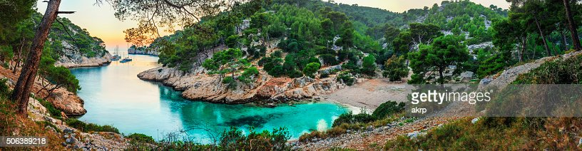 Turquoise bay during sunset - HDR panorama at Fench Riviera