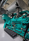 Turquoise Blue  Diesel Generator Set including exhaust silencer and batteries.