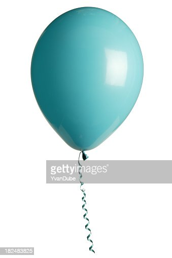 Turquoise colored balloon with curled ribbon against white