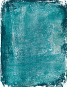 An hand painted mixed media painting on paper. There is a mottled and grungy texture throughout the painting. The prominent colors are shades of turquoise blue. There are rough grungy edges around the