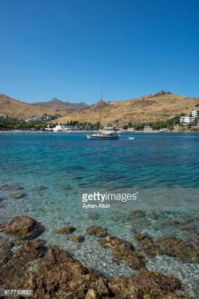 Turquoise crystal waters of Akyarlar in Bodrum, Mugla, Aegean Coast of Turkey