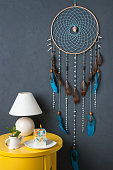 Turquoise dream catcher , yellow nightstand , table lamp and aroma candle on gray textured background. Texture of concrete.