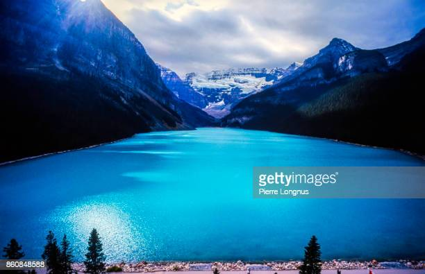 Turquoise lake Louise with Mt. Victoria and Victoria glacier from a high point of view, Banff national Park, Alberta, Canada