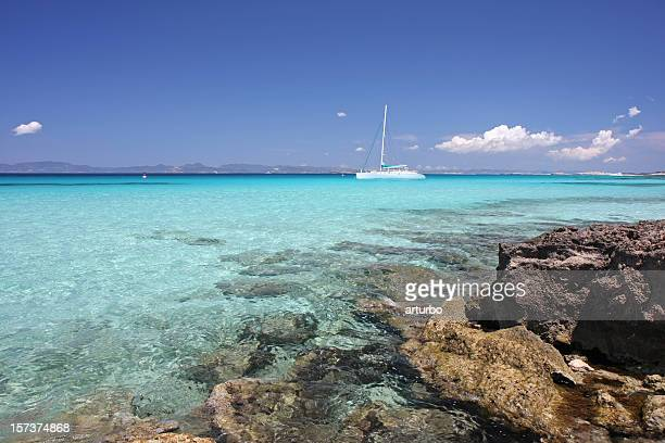 turquoise mediterranean ocean and  yachts