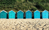 Beach huts at Bournemouth, Dorset, UK.