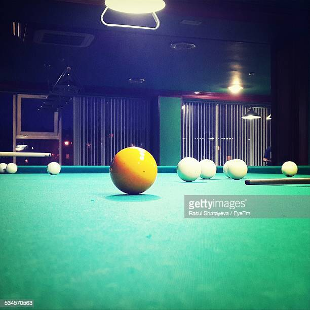 Turquoise Pool Table With Balls