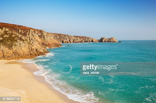 Turquoise sea at Porthcurno Beach in Cornwall, South England : Stock Photo