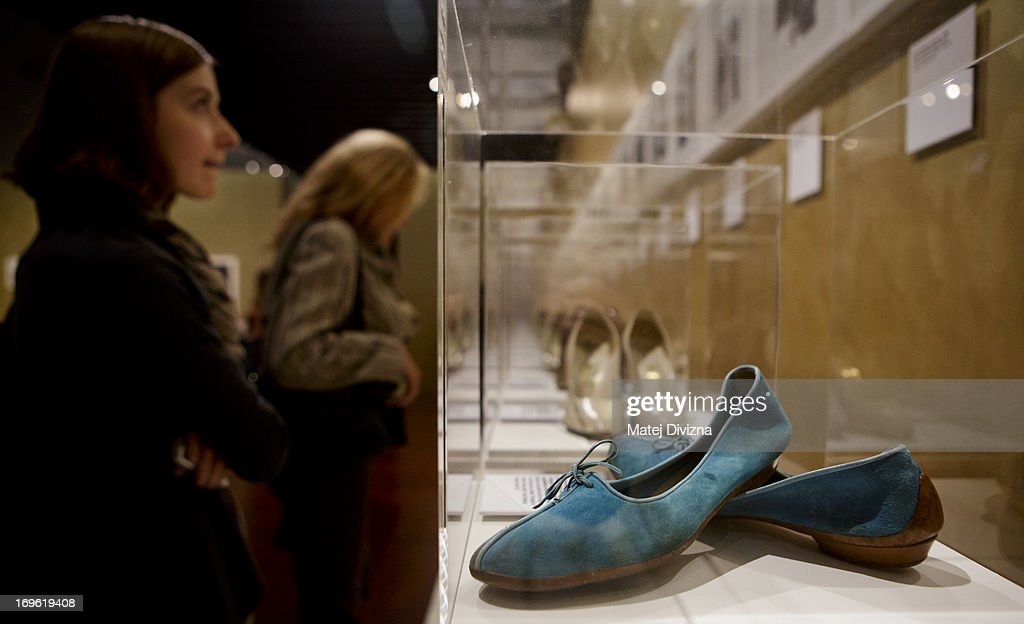 A turquoise suede ballet flat designed by Ferragamo is displayed during a press preview of the 'Marilyn' exhibition at Prague Castle on May 29, 2013 in Prague, Czech Republic. The exhibition was created by the Museo Salvatore Ferragamo in Florence, in 2012. Marilyn Monroe loved and owned many pairs of shoes made by Ferragamo. The Marilyn exhibition, which commemorates the 50th anniversary of her death, runs at the Riding School until September 20, 2013. The exhibition will present 30 pairs of shoes and over 50 outfits and other accessories from Marylin's personal, public and movie wardrobe and also historical movie clips, magazine covers and Marilyn's original writings.