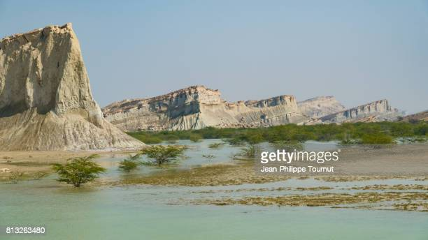 Turquoise water and semi-arid landscape in Qeshm Island, Persian Gulf, Hormozgan Province, Southern Iran