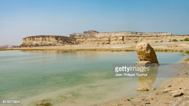 Turquoise water of a Lake in near Chahkouh Valley in Qeshm Island, Persian Gulf, Hormozgan Province, Southern Iran