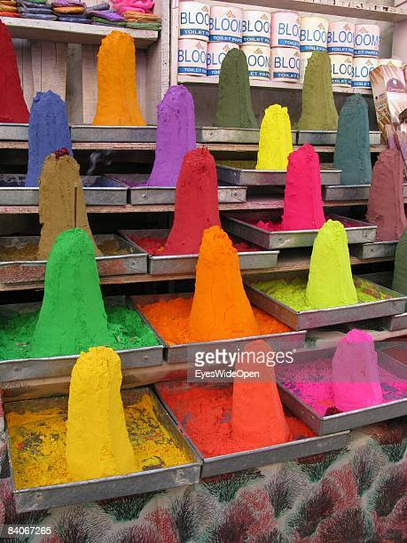 Turrets of colorful powder in different gradation for staining and drawing and religious ceremonies on January 06 2008 in Pushkar India