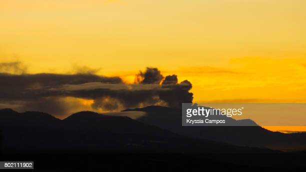 Turrialba volcano´s silhouette at early morning in Costa Rica.