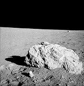 Turtle rock on lunar surface of Earths moon.