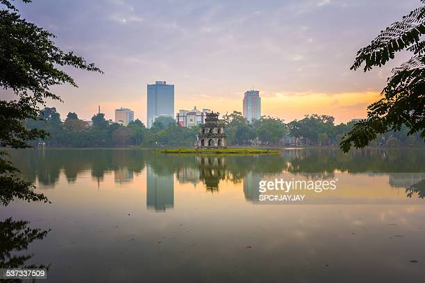 Turtle Tower of Hoan Kiem Lake in the morning