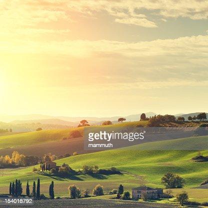 Tuscan landscape at sunset. : Stock Photo