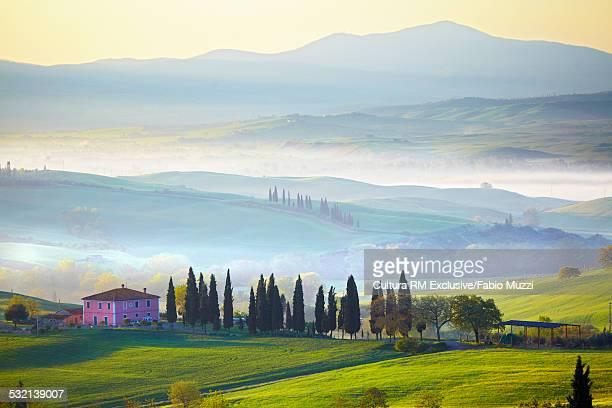 Tuscan landscape, farm, cypress trees, San Quirico, Tuscany, Italy