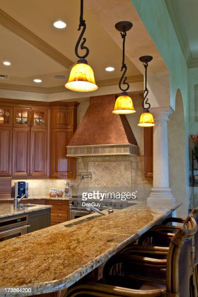 Tuscan Style Kitchen with Granite and Copper Wide Angle